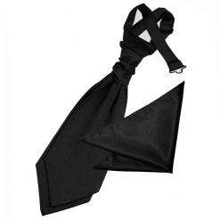 Black Plain Satin Wedding Cravat & Pocket Square Set for Boys