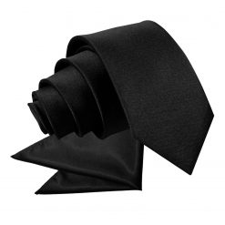 Black Plain Satin Tie & Pocket Square Set for Boys