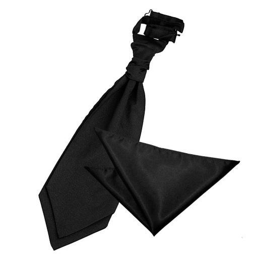 Black Plain Satin Wedding Cravat & Pocket Square Set