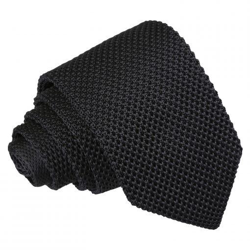 Black Knitted Slim Tie & Pocket Square Set