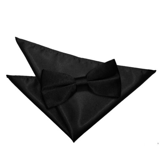 Black Plain Satin Bow Tie & Pocket Square Set