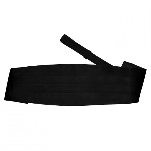 Black Plain Satin Cummerbund
