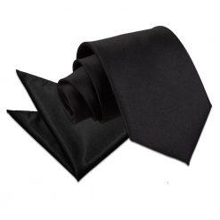 Black Plain Satin Tie & Pocket Square Set