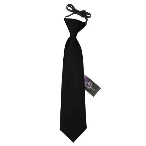 Black Plain Satin Elasticated Tie for Boys