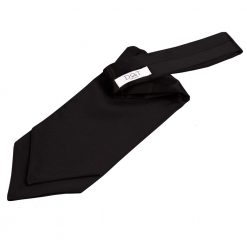 Black Plain Satin Self-Tie Wedding Cravat