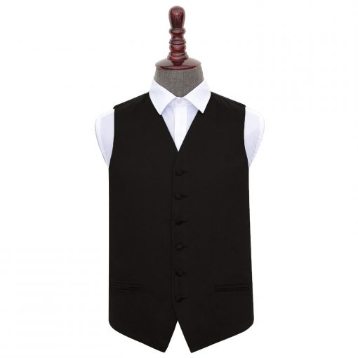 Black Plain Satin Wedding Waistcoat