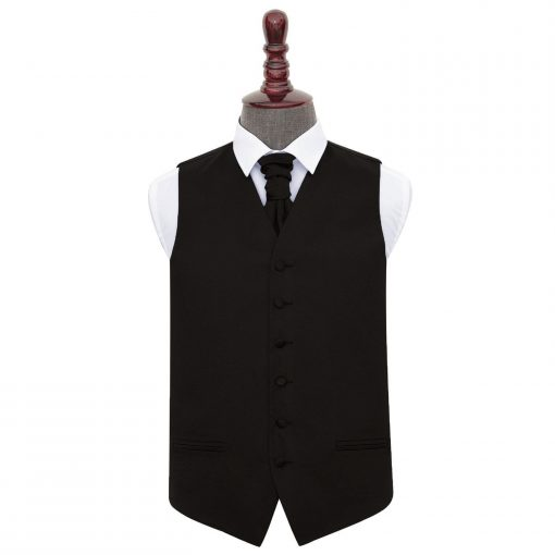 Black Plain Satin Wedding Waistcoat & Cravat Set