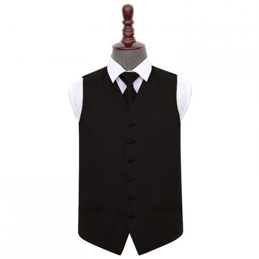 Black Plain Satin Wedding Waistcoat & Tie Set