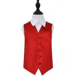 Apple Red Plain Satin Wedding Waistcoat for Boys