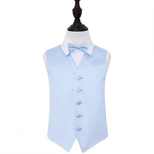 Baby Blue Plain Satin Wedding Waistcoat & Bow Tie Set for Boys