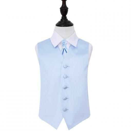 Baby Blue Plain Satin Wedding Waistcoat & Cravat Set for Boys