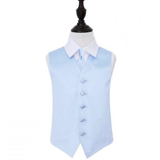 Baby Blue Plain Satin Wedding Waistcoat & Tie Set for Boys