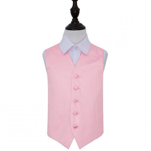 Baby Pink Plain Satin Wedding Waistcoat for Boys
