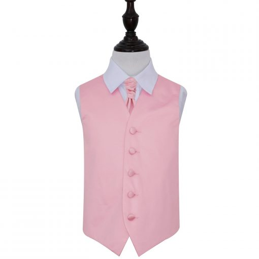 Baby Pink Plain Satin Wedding Waistcoat & Cravat Set for Boys