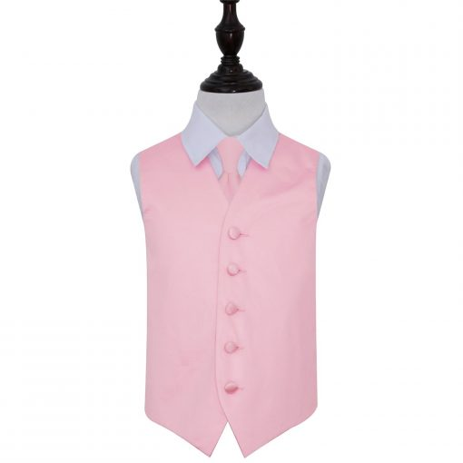 Baby Pink Plain Satin Wedding Waistcoat & Tie Set for Boys