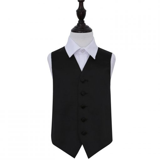 Black Plain Satin Wedding Waistcoat for Boys