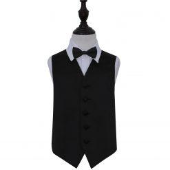 Black Plain Satin Wedding Waistcoat & Bow Tie Set for Boys