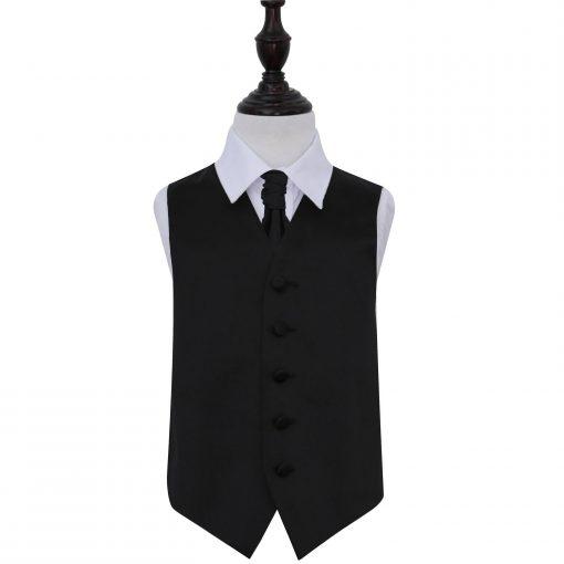 Black Plain Satin Wedding Waistcoat & Cravat Set for Boys