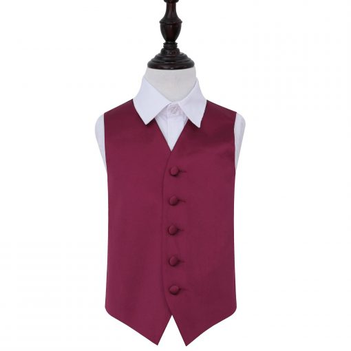 Burgundy Plain Satin Wedding Waistcoat for Boys