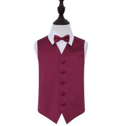 Burgundy Plain Satin Wedding Waistcoat & Bow Tie Set for Boys