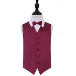 Burgundy Plain Satin Wedding Waistcoat & Bow Tie Set for Boys