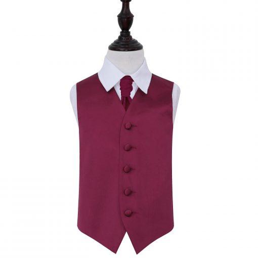 Burgundy Plain Satin Wedding Waistcoat & Cravat Set for Boys