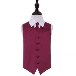 Burgundy Plain Satin Wedding Waistcoat & Tie Set for Boys