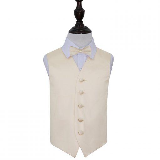 Champagne Plain Satin Wedding Waistcoat & Bow Tie Set for Boys