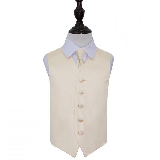 Champagne Plain Satin Wedding Waistcoat & Tie Set for Boys