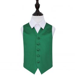 Emerald Green Plain Satin Wedding Waistcoat for Boys
