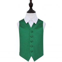Emerald Green Plain Satin Wedding Waistcoat for Boys