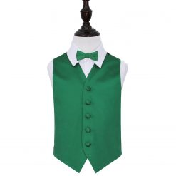 Emerald Green Plain Satin Wedding Waistcoat & Bow Tie Set for Boys