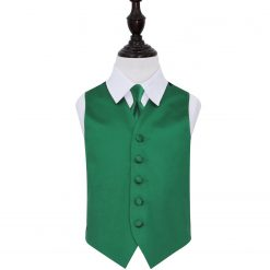 Emerald Green Plain Satin Wedding Waistcoat & Tie Set for Boys