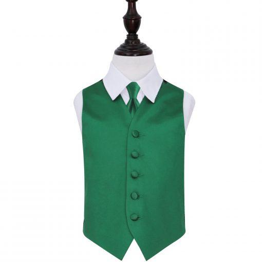 Emerald Green Plain Satin Wedding Waistcoat & Tie Set for Boys
