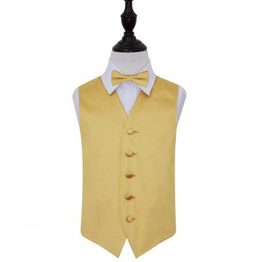Gold Plain Satin Wedding Waistcoat & Bow Tie Set for Boys