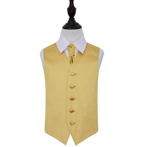 Gold Plain Satin Wedding Waistcoat & Cravat Set for Boys