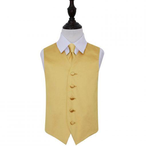 Gold Plain Satin Wedding Waistcoat & Tie Set for Boys