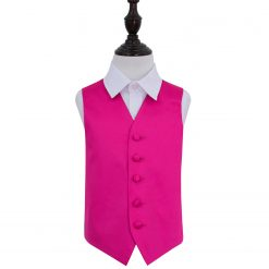 Hot Pink Plain Satin Wedding Waistcoat for Boys