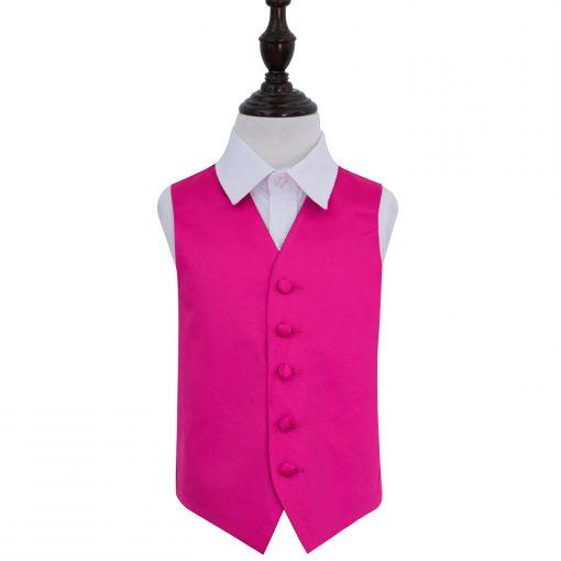 Hot Pink Plain Satin Wedding Waistcoat for Boys