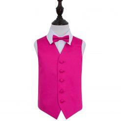Hot Pink Plain Satin Wedding Waistcoat & Bow Tie Set for Boys