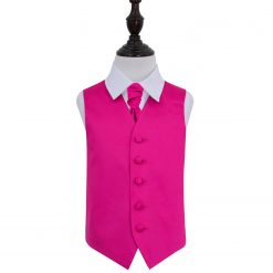Hot Pink Plain Satin Wedding Waistcoat & Cravat Set for Boys