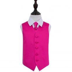 Hot Pink Plain Satin Wedding Waistcoat & Tie Set for Boys
