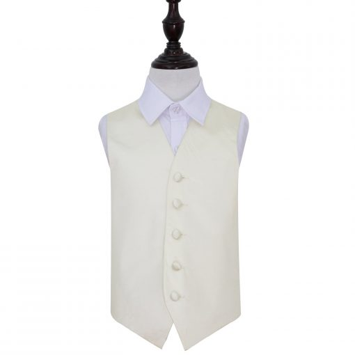 Ivory Plain Satin Wedding Waistcoat for Boys