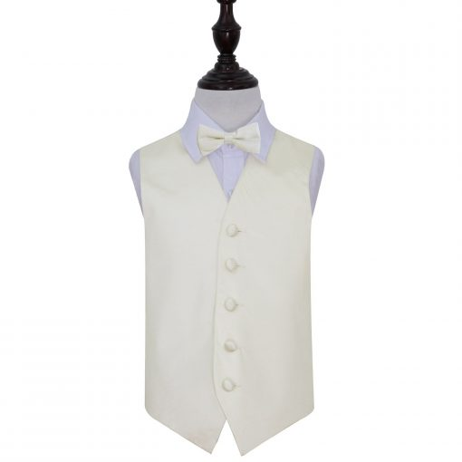 Ivory Plain Satin Wedding Waistcoat & Bow Tie Set for Boys