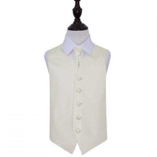 Ivory Plain Satin Wedding Waistcoat & Cravat Set for Boys