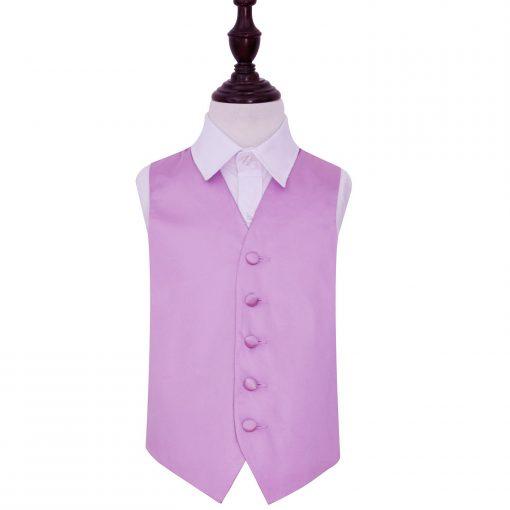 Lilac Plain Satin Wedding Waistcoat for Boys