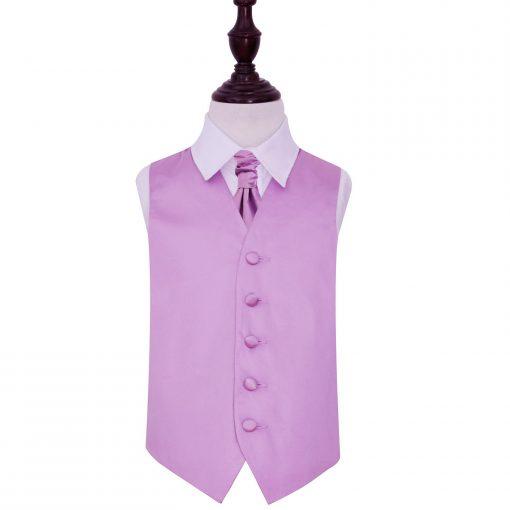 Lilac Plain Satin Wedding Waistcoat & Cravat Set for Boys