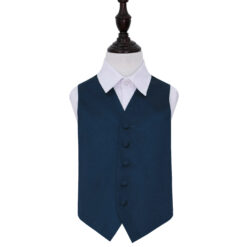 Navy Blue Plain Satin Wedding Waistcoat for Boys