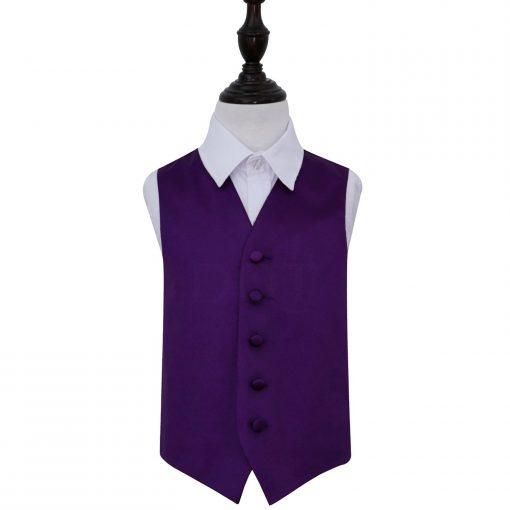 Purple Plain Satin Wedding Waistcoat for Boys