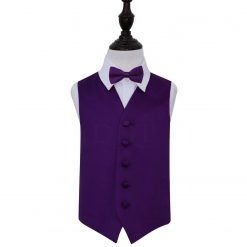 Purple Plain Satin Wedding Waistcoat & Bow Tie Set for Boys